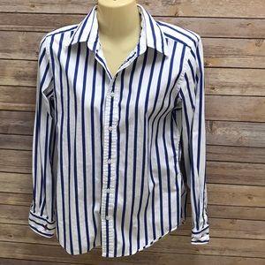Woman's Ralph Lauren button down striped shirt.